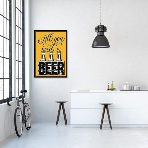 plakat żółty z motywem piwa