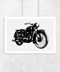 plakat z grafiką motocykla