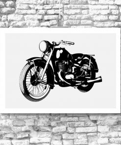 plakat czarno-biały z motocyklem