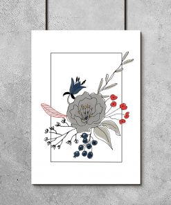plakat szare kwiaty