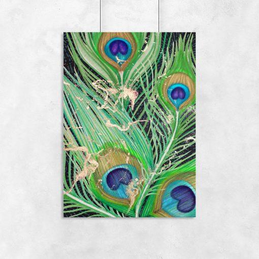 zielony plakat z pawim piórkiem