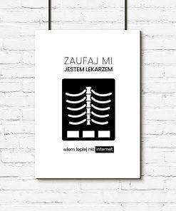 czarno-biały plakat dla lekarza