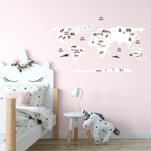 naklejka na ścianę dla dziecka mapa świata