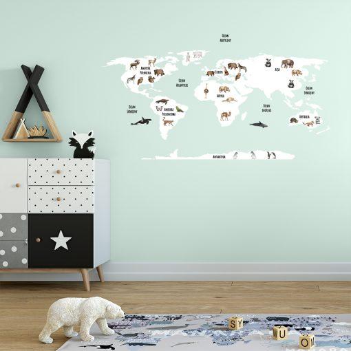 naklejka z mapą na ścianę do pokoju dziecka