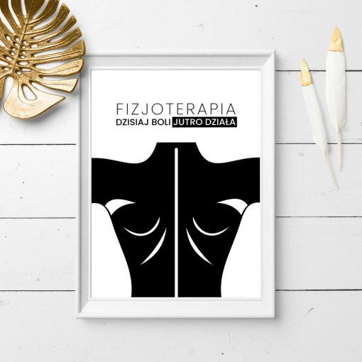 czarno-biały plakat o fizjoterapii