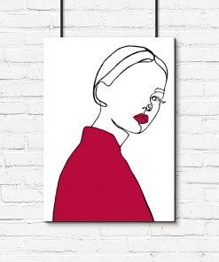 plakat kobieta różowe usta