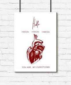 plakat z grafiką serca