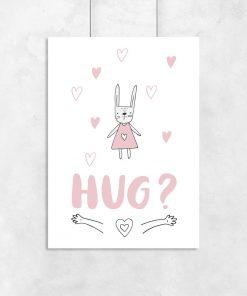 plakat różowy z króliczkiem