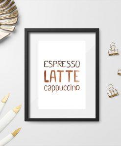 dekoracja z kawą jako plakat do restauracji