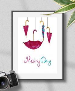 Plakat w ramie z parasolkami i sentencją