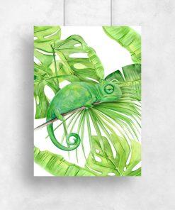 pionowy plakat zielony z monsterą jako liściem