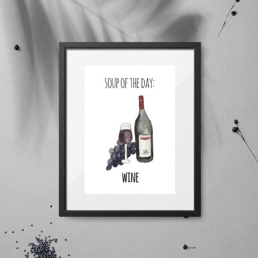 plakat po angielsku z napisem i wino