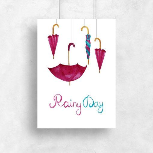 Plakat bez ramy z angielskim napisem rainy day