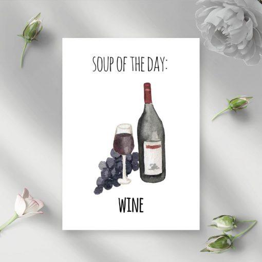 motyw wina i napisu na plakacie