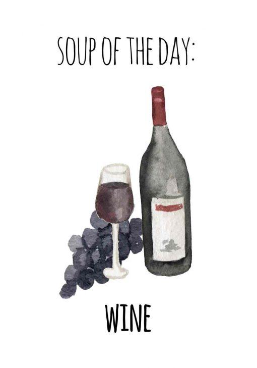 wino z winogronami jako plakat