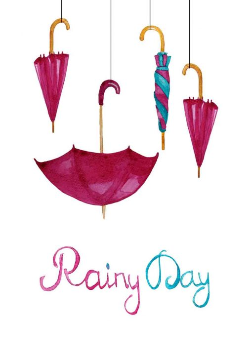 Parasolki i sentencja na plakacie