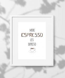 plakat ścienny i kawa espresso