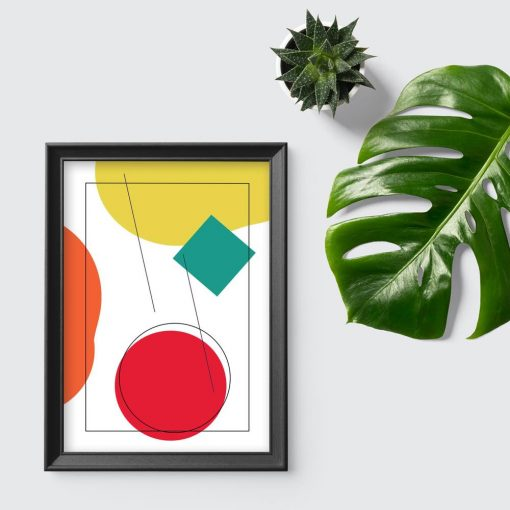 Geometryczne figury na plakacie