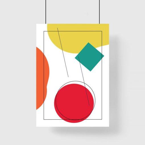 Plakat bez ramy z zielonym kwadratem