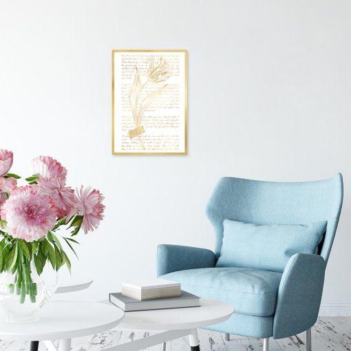plakat z tulipanem na tle napisów