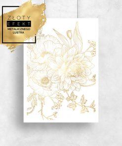 plakat ze złotymi kwiatami