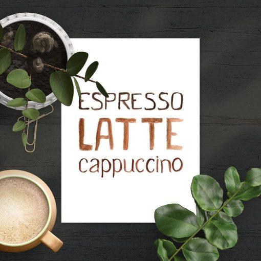 kawa w brązie na plakacie pionowym