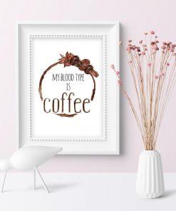 plakat z napisem o kawie