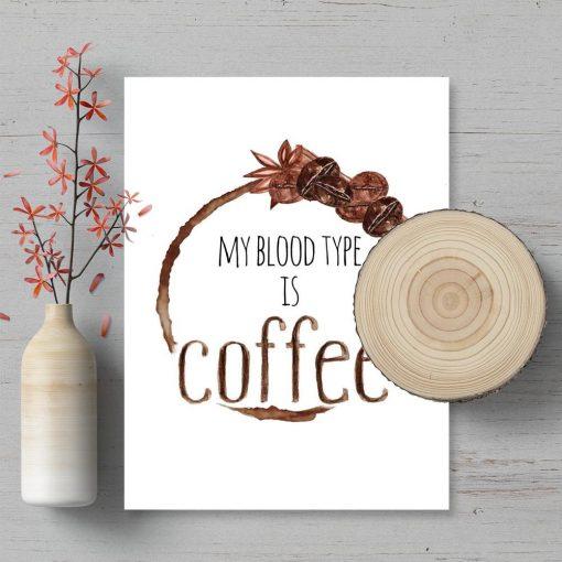 plakat z grafiką kawy