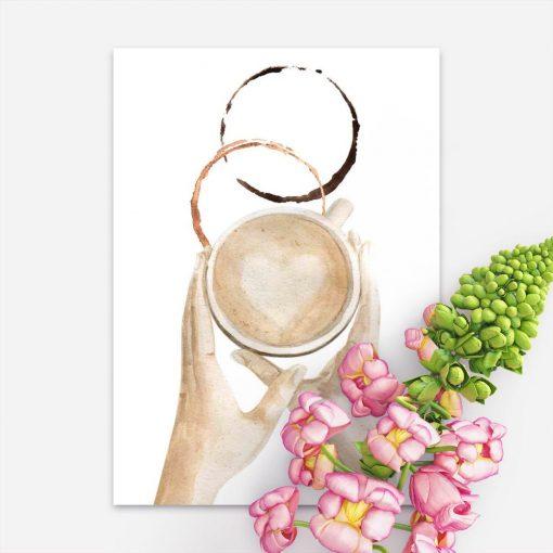 plakat z ilustracją kawy