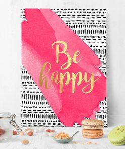 ścienny plakat z motywem napisu be happy