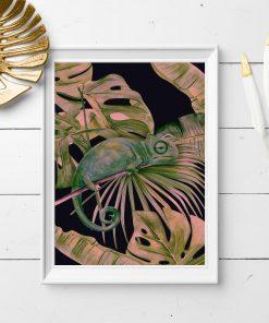 plakat z tropikalnymi roślinami