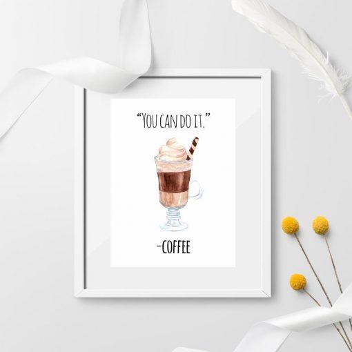 dekoracja z kawą i napisem po angielsku