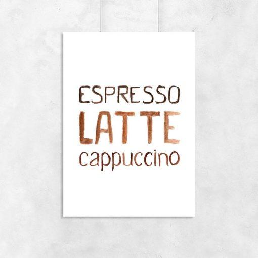 3 kawy jako motyw plakatu do restauracji