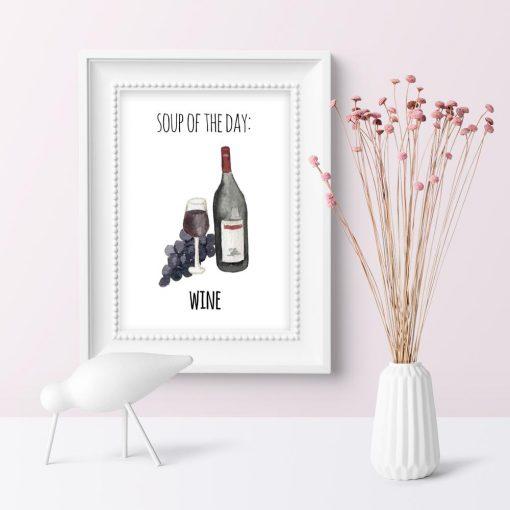 wino i napis jako motyw plakatu