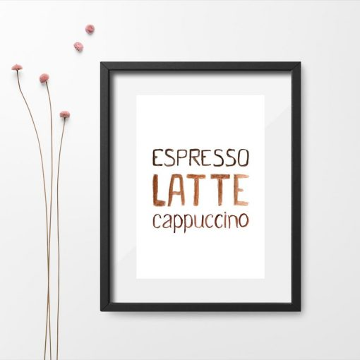 brązowy plakat pionowy z kawą
