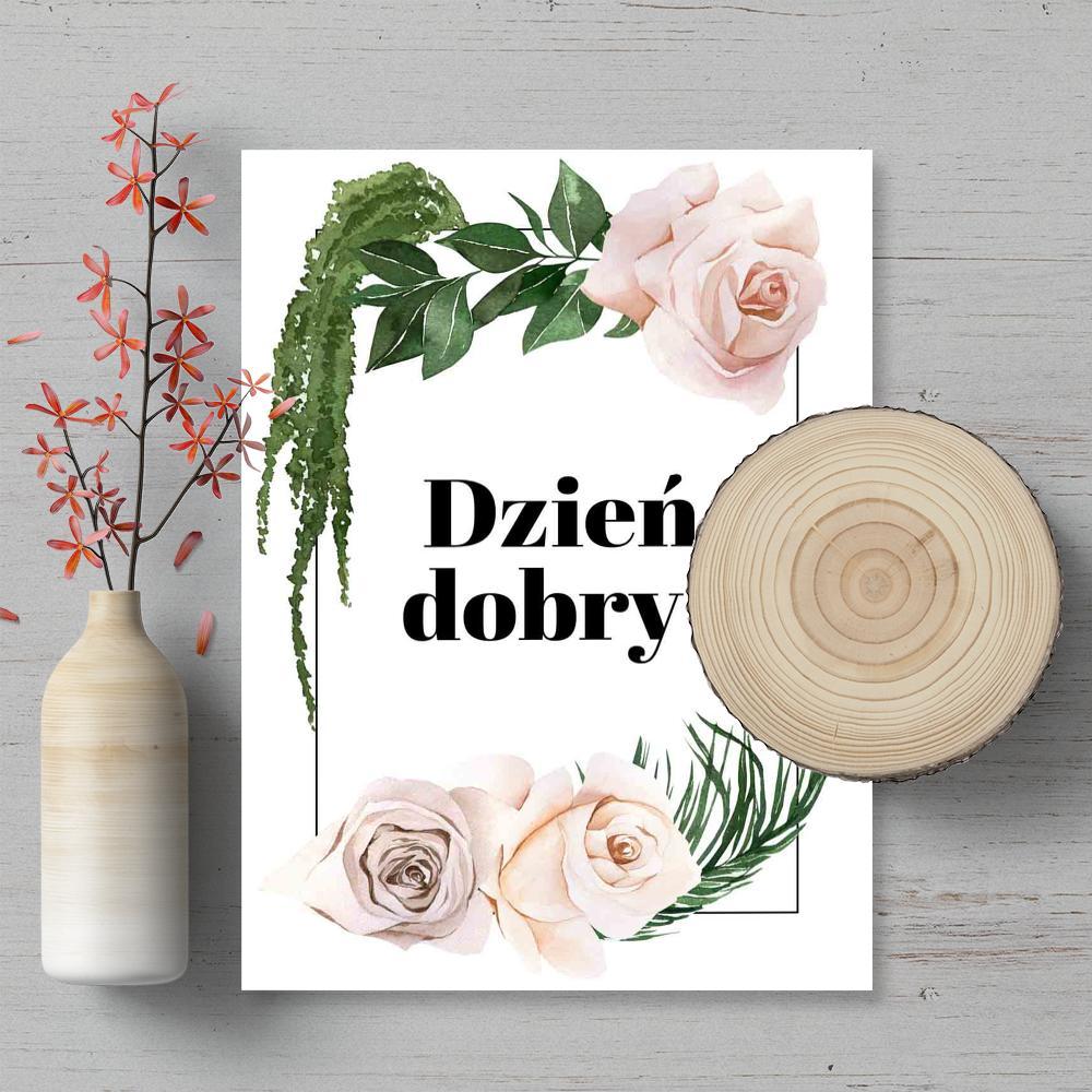 Plakat z typografią dzień dobry oraz kwiatami