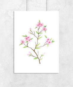 plakat z motywem wiśniowej gałązki
