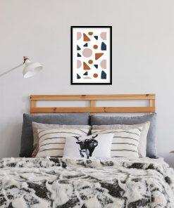 Plakat w ramie z trójkątami w pastelowym kolorze
