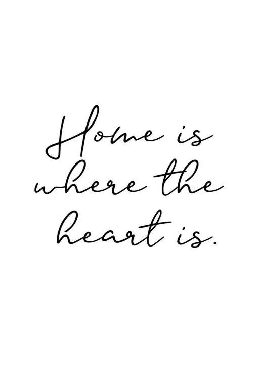 Dekoracja do ramy z sentencją: home is where the heart is