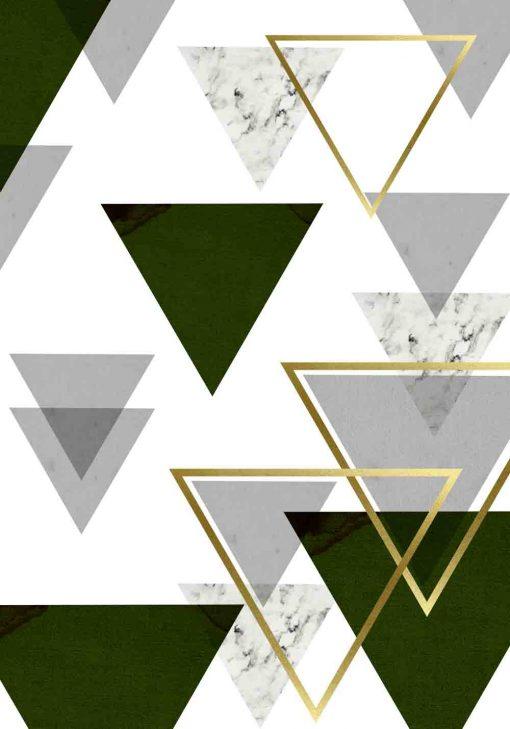 plakat z abstrakcyjnymi trójkątami
