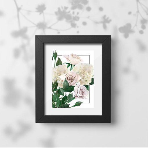 plakat z delikatnymi kwiatami