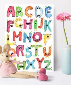 plakat przedstawiający alfabet