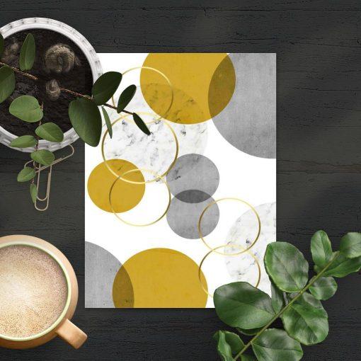 plakat z żółto-szarymi figurami geometrycznymi