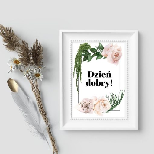 Plakat z roślinami i powitaniem