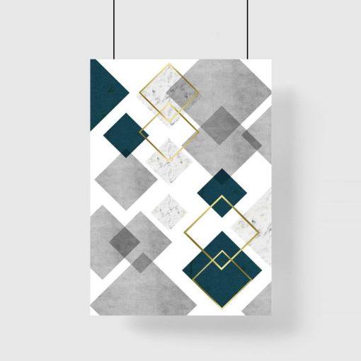 plakat do domu z motywem kwadratów