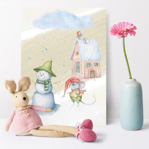 Plakat dziecięcy - Myszka na śniegu