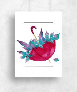 plakat do salonu z motywem parasolki i liści