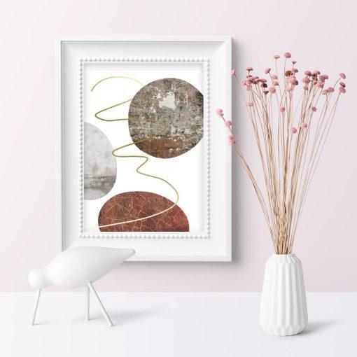 plakat do sypialni z motywem kolistej abstrakcji