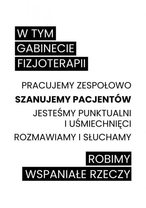 Plakat - Gabinet fizjoterapii