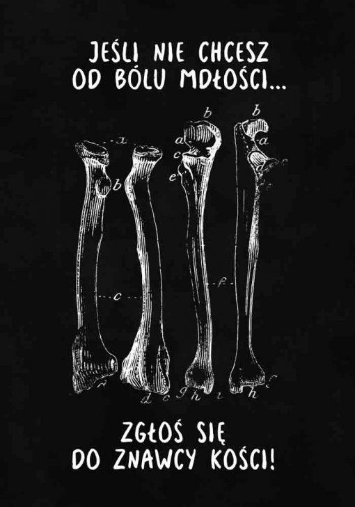 Plakat dla fizjoterapeuty z kośćmi